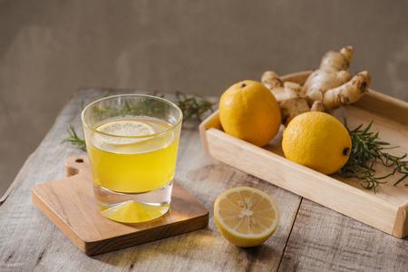 slimming tea with ginger, lemon and vitamins