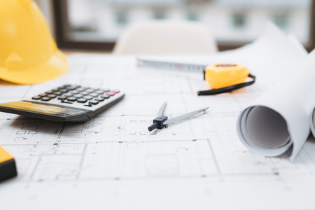 Business room of house architect engineer nobody work construction blueprint House Cost Estimator, Cost to Build a Home.