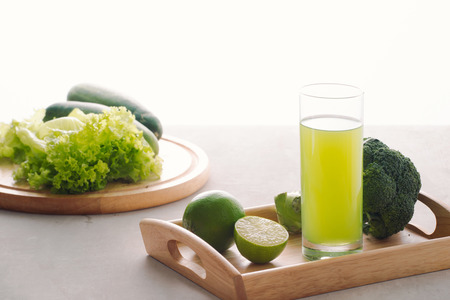 Various freshly squeezed vegetable juices for Fasting