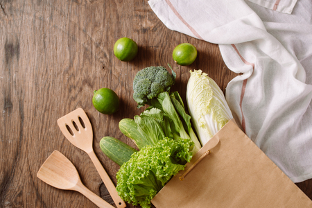 fresh vegetables in a brown paper bag Stock Photo