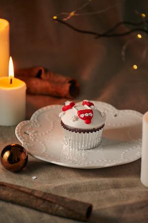 Christmas Dessert. Snowman Cupcakes Stock Photo