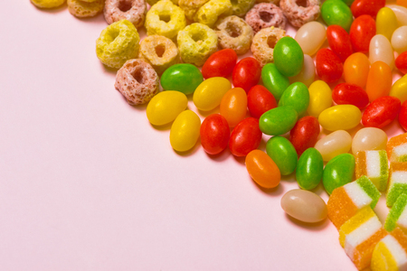 Candy, sweets, marshmallow on a bright background. Candy pattern
