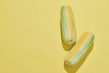 Creative layout made of corn. Flat lay. Food concept