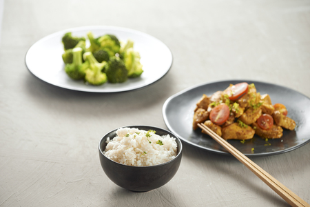 Delicious soy sauce chicken with rice - asian food style