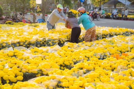 BAC LIEU, VIETNAM - FEBRUARY 12, 2018: Unidentified people buy apricot trees and yellow and orange flowers to decorate their homes for Tet, Lunar New Year. It is the biggest holiday in Vietnam.