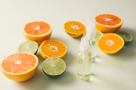 Flat lay composition with delicious natural citrus on color background Stock Photo