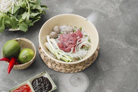 Vegetarian vietnamese style soup pho. Traditional asian cuisine. Stok Fotoğraf