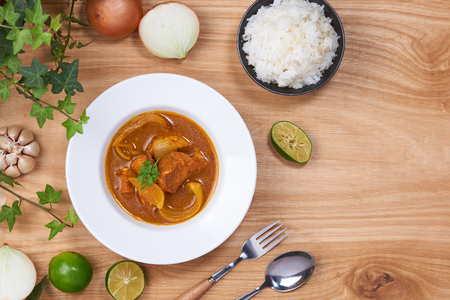 Chicken curry in a bowl  Vietnam chicken curry on wooden background Stock Photo