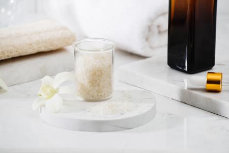 Spa Kit. Shampoo, Soap Bar And Liquid. Shower Gel. Aromatherapy Salt