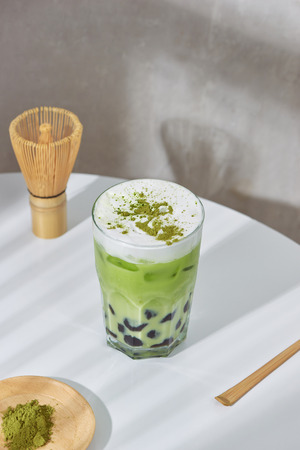 Homemade Tapioca pearl (boboa) green tea (Japanese matcha latte) - creamy and yummy with pretty look