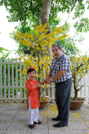Grandfather giving lucky money to grandson on the first day of Vietnamese lunar new year Tet Standard-Bild - 116099388