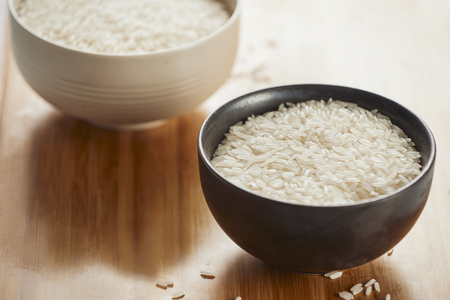 White rice in bowl on table. Concept asian food Stock Photo