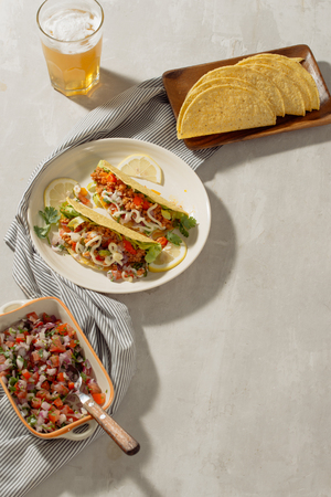 Mexican pork tacos with vegetables. Delicious tacos Stock Photo