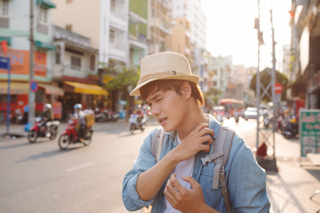 Young Asian traveling backpacker in Cho lon in Chinatown, Saigon Stock fotó