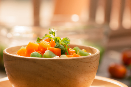 Close up of steamed vegetables on isolated background