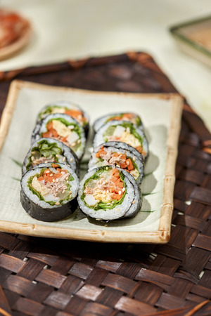Korean roll Gimbap(kimbob) made from steamed white rice (bap) and various other ingredients Stok Fotoğraf