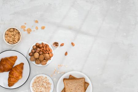 continental breakfast - toast, croissants, mix nuts, milk