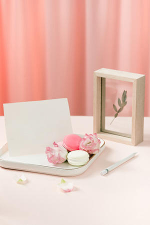 Gift with flowers and a cup of tea -  Anniversary day Stock Photo