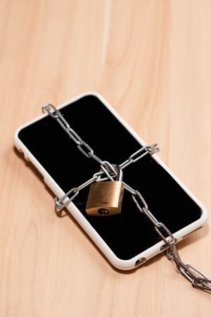 Security of smartphone, tied chain with lock