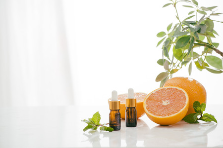 Aceite de cítricos naranja natural Vitamina C Foto de archivo