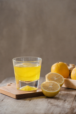 slimming tea with ginger, lemon and vitamins