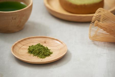 German cake, Green tea Baumkuchen with latte