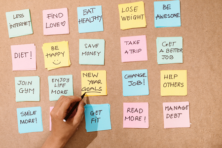 """Motivation word """" new year goals"""" on pink card"""