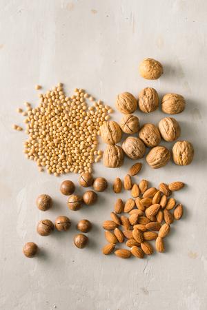 Mix of nuts: Macadamia, almond, soy, walnut. Top view. Stok Fotoğraf