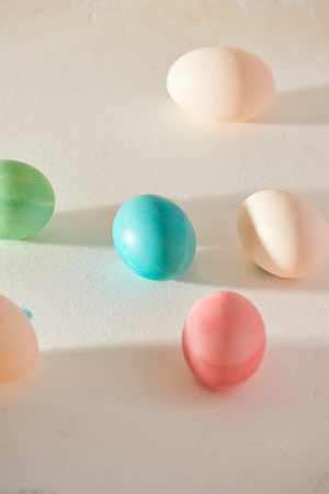 Process of dyeing easter eggs 写真素材