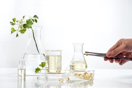 medicina alternativa de hierbas. Vitamina herbal sobre fondo blanco.