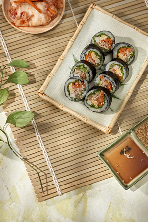 Korean roll Gimbap(kimbob) made from steamed white rice (bap) and various other ingredients Zdjęcie Seryjne