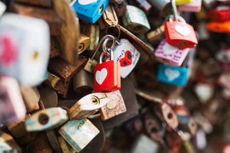 SEOUL, SOUTH KOREA,26 October 2016: Plenty of master key were locked along the wall on at Seoul tower Stok Fotoğraf