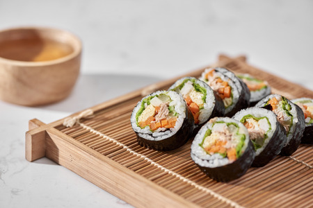 Korean roll Gimbap(kimbob) made from steamed white rice (bap) and various other ingredients Stock fotó