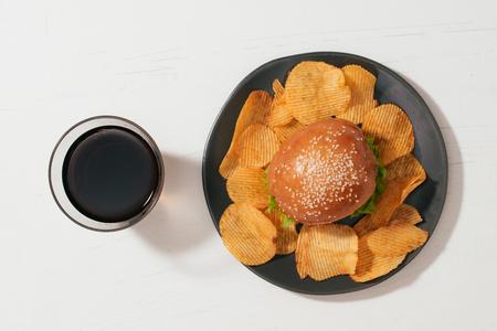 still life with fast food hamburger menu, french fries and ketchup Stockfoto