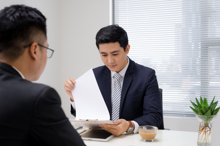 Job interview of two business professionals. Greeting new colleague 스톡 콘텐츠