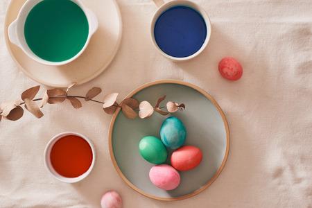 Eggs preparing paint for easter day.