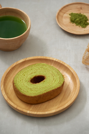 German cake, Green tea Baumkuchen with latte