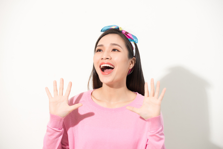 excited happy girl woman expression, amazed woman, surprised asian woman looking, casual girl portrait studio white background isolated, excited happy people concept, beautiful girl asian woman model Stock Photo