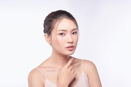 Schönheitsfrauenporträt. Haut- und Gesichtspflegekonzept Standard-Bild