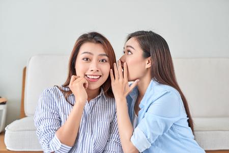 Porträt von zwei jungen attraktiven glücklichen Frauen mit Lauschangriffen flüstert ein Geheimnis (Geheimnis) im Studio im Wohnzimmer. Das Konzept von Klatsch und Vertraulichkeit