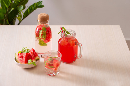 Summer refreshing cocktails with watermelon and citrus fruits 写真素材