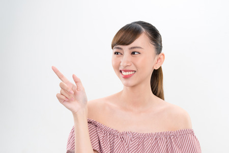 happy woman beautiful smile index finger
