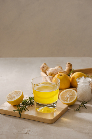 Ginger Ale or Kombucha in Bottle - Homemade lemon and ginger organic probiotic drink, copy space. Stock Photo