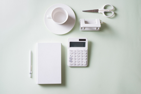 Office supplies composition on white background. Flat lay, top view. 版權商用圖片