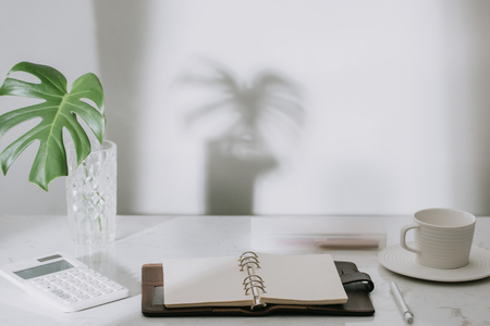 Monstera tropical palm leaves in a glass vase standing on office table with stationary