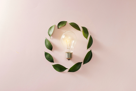 Light bulb with green leaves Stock Photo