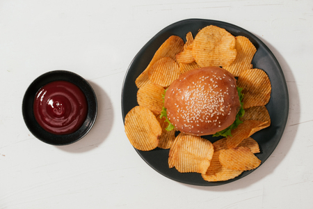 still life with fast food hamburger menu, french fries and ketchup 版權商用圖片