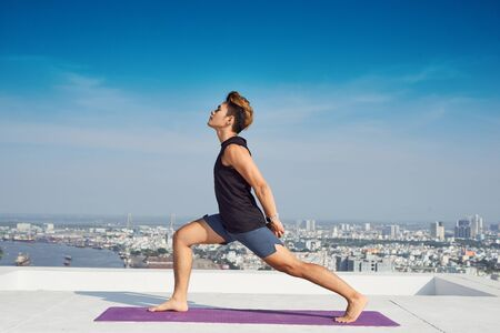 Man practicing advanced yoga. A series of yoga poses. lifestyle concept. Stockfoto - 124798102