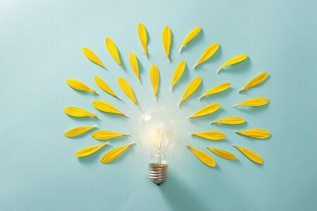 Ecology and energy saving concept with eco bulb Standard-Bild - 125426129