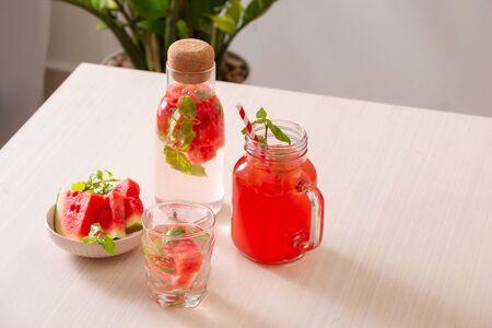 Watermelon drinks on the white background Stok Fotoğraf